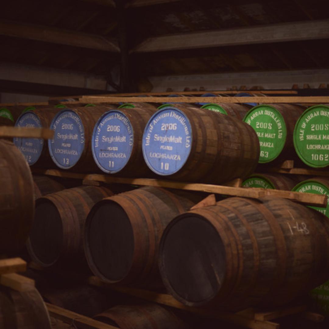 sudy, v ktorých zreje whisky Arran